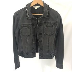 CAbi Jean Jacket Beaded Collar Distressed Black